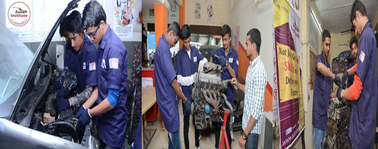 Auto Institute students enjoying Hands on practical on Multi Car & Bike.